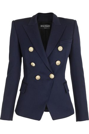 Balmain Women's Double Breasted Grain de Poudre Jacket - - Size 44 (12)