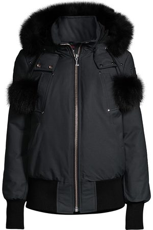 Moose Knuckles Women's Debbie Fur-Trim Hooded Bomber - - Size XL