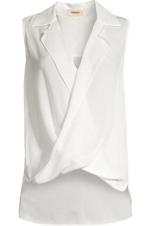 L'Agence Women's Freja Draped Silk Blouse - - Size Large