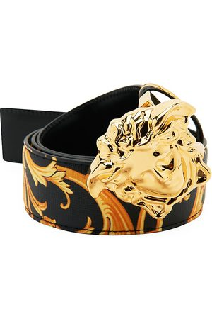 VERSACE Men Belts - Men's Medusa Heritage Baroque-Print Reversible Leather Belt - Nero Multi - Size 110 (44)