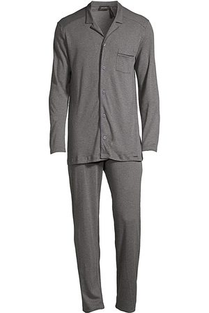 Hanro Men's Basic Piped 2-Piece Long Pajama Set - - Size Large