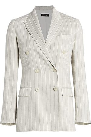 THEORY Women's Striped Double-Breasted Blazer - - Size 18