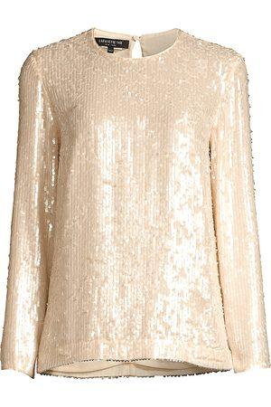 Lafayette 148 New York Women Tops - Women's Bonnie Iridescent Sequin Top - Gesso Iridescent - Size XS