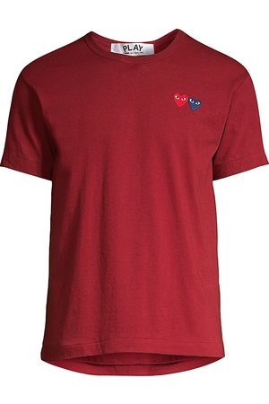 Comme des Garçons Men's Embroidered Heart Patch Tee - - Size Small