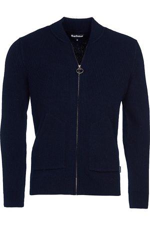 Barbour Men's Tartan Gillespie Wool Zip-Through Sweater - Navy - Size XXL