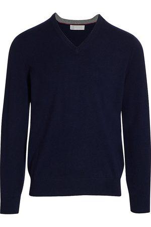Brunello Cucinelli Men Sweaters - Men's Cashmere V-Neck Sweater - - Size 56 (46)