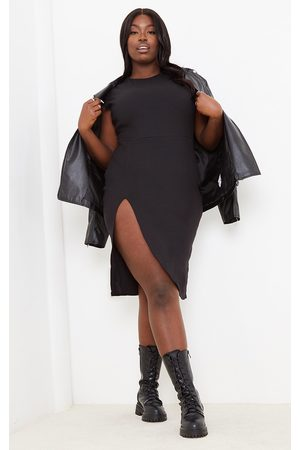 PRETTYLITTLETHING Plus Ribbed Extreme Split Cap Sleeve Midi Dress