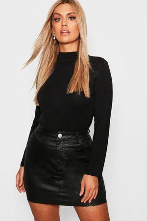 Boohoo Womens Plus Jersey Roll Neck Long Sleeve Top - - 12