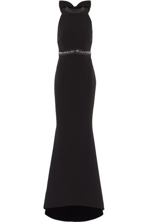 Safiyaa Embellished stretch-crêpe gown