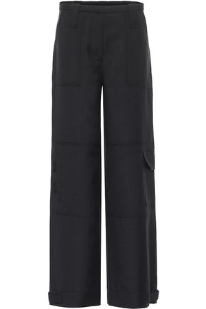 Ganni High-rise straight wool-blend pants