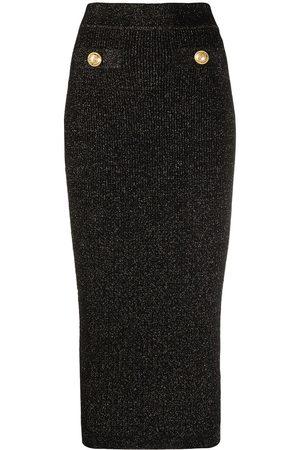 Balmain Metallic-thread tube skirt