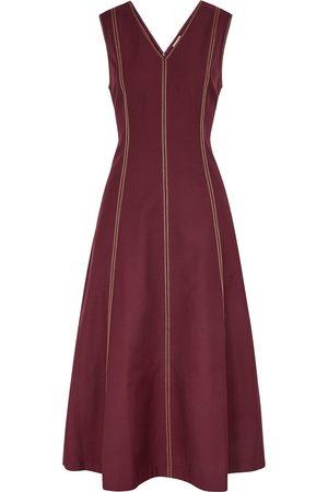 BODICE Women Midi Dresses - Burgundy panelled midi dress