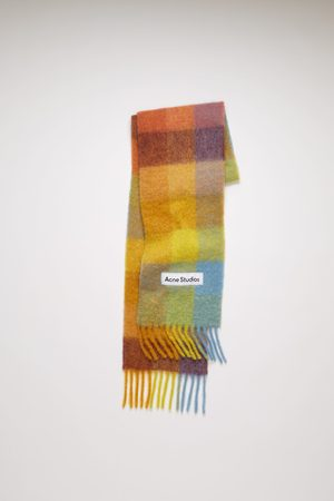 Acne Studios FN-UX-SCAR000115 /powder blue/brown Large check scarf
