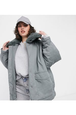 ASOS ASOS DESIGN Curve sherpa collared jacket with quilted liner in teal