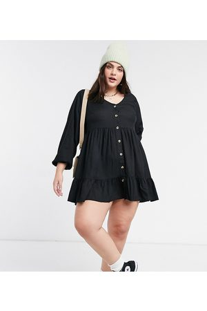 Yours Button front tiered smock dress in
