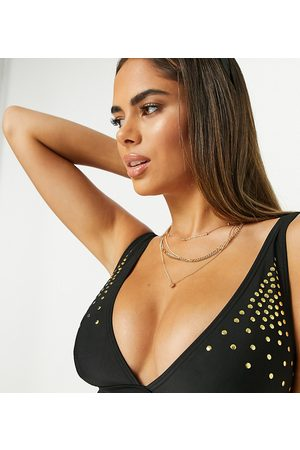 Wolf & Whistle Exclusive fuller bust studded triangle bikini top in