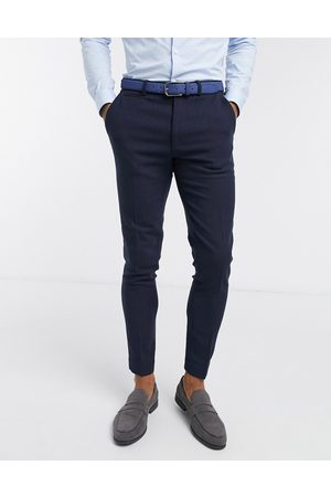 ASOS Wedding super skinny wool mix suit pants in navy herringbone
