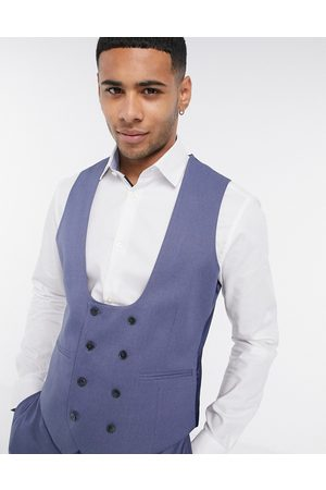 ASOS Wedding super skinny suit vest with micro texture in mid