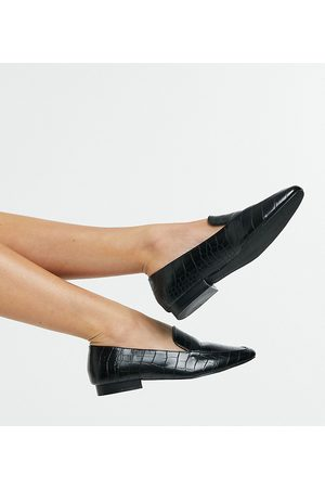 ASOS Wide Fit Mindy flat loafers in croc