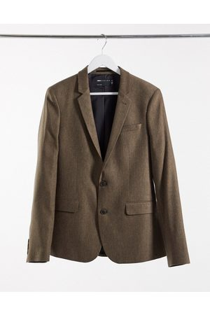 ASOS Wedding skinny wool mix suit jacket in camel herringbone