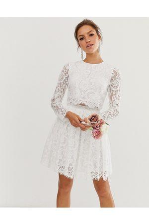 ASOS Gigi crop top lace mini wedding dress