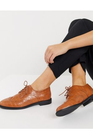 ASOS More flat lace up shoes in tan croc