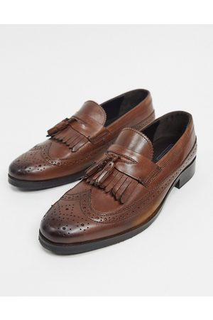 ASOS Loafers in polished leather with brogue detail