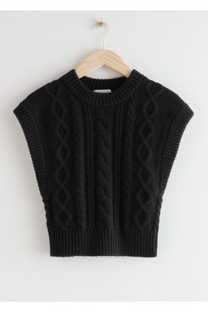 & OTHER STORIES Short Fitted Cable Knit Vest
