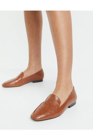 ASOS Mindy flat loafers in tan croc