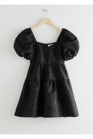 & OTHER STORIES Wide Puff Sleeve Jacquard Mini Dress
