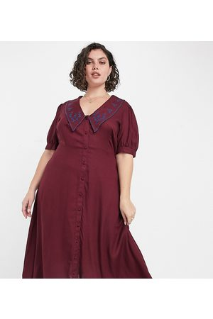 ASOS ASOS DESIGN Curve button through midi tea dress with embroidered peter pan collar in rust