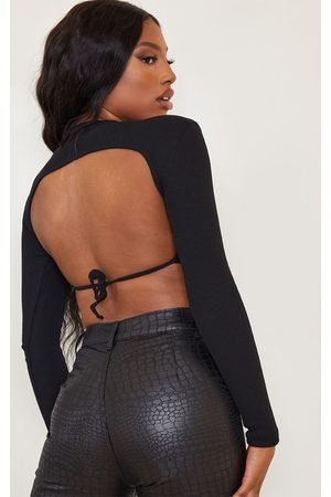 PRETTYLITTLETHING Open Back Rib Crop Top