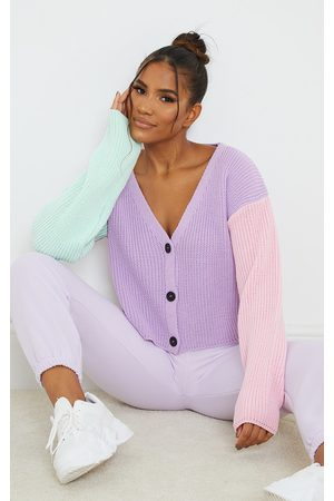 PRETTYLITTLETHING Lilac Colour Block Button Up Cropped Cardigan