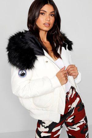 Boohoo Womens Black Faux Fur Hood Crop Puffer - - 4