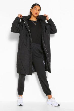 Boohoo Womens Longline Hooded Puffer Jacket - - 4