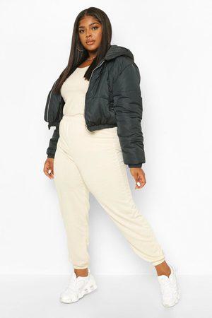 Boohoo Womens Plus Hooded Crop Puffer - - 12