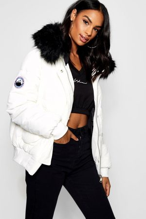 Boohoo Womens Tall Contrast Faux Fur Padded Crop Jacket - - 2