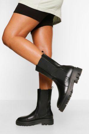 Boohoo Womens Calf High Chunky Sole Chelsea Boot - - 5