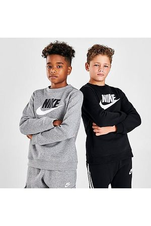 Nike Boys' Sportswear Club Fleece Crew Sweatshirt in Grey Size Small Cotton/Polyester/Fleece