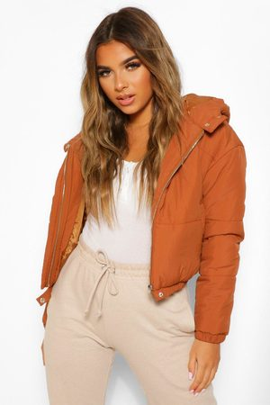 Boohoo Womens Petite Hooded Crop Padded Coat - - 2