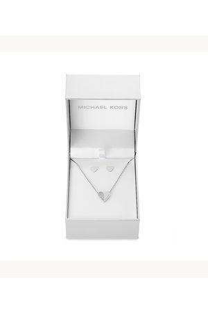 Michael Kors Women Earrings - Women's Holiday Gifting -Tone Heart Pendant And Stud Earrings Set