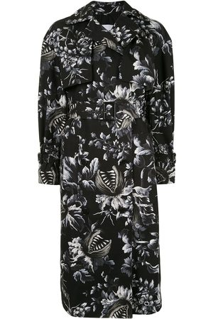 Msgm Floral print belted trench coat