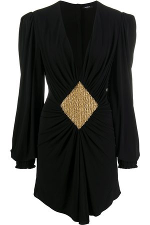 Balmain Women Party Dresses - Bead-embellished gathered dress