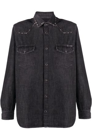 Golden Goose Men Denim - Stud detail denim shirt - Grey