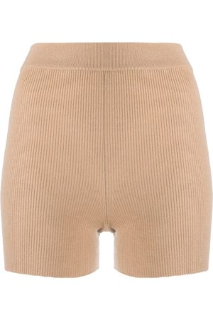 Cashmere In Love Ribbed-knit biker shorts - Neutrals