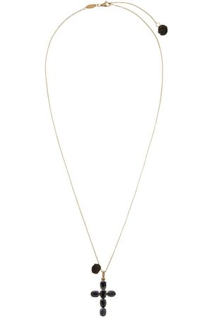 Dolce & Gabbana 18kt yellow Devotion cross black sapphire and jade necklace
