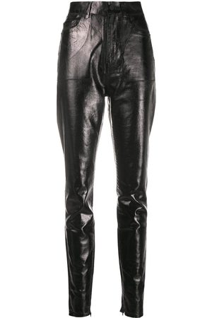 Saint Laurent High-waisted leather effect trousers