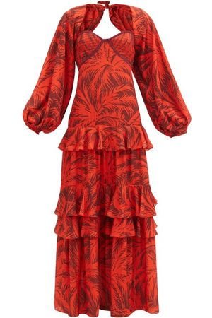 JOHANNA ORTIZ Festive Spirit Palm Tree-print Crepe Maxi Dress - Womens - Multi