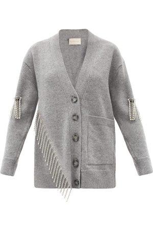 Christopher Kane Asymmetric Crystal-embellished Wool Cardigan - Womens - Grey