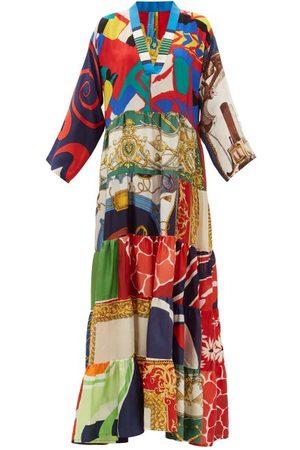 Rianna + Nina Vintage V-neck Patchwork Silk Dress - Womens - Multi